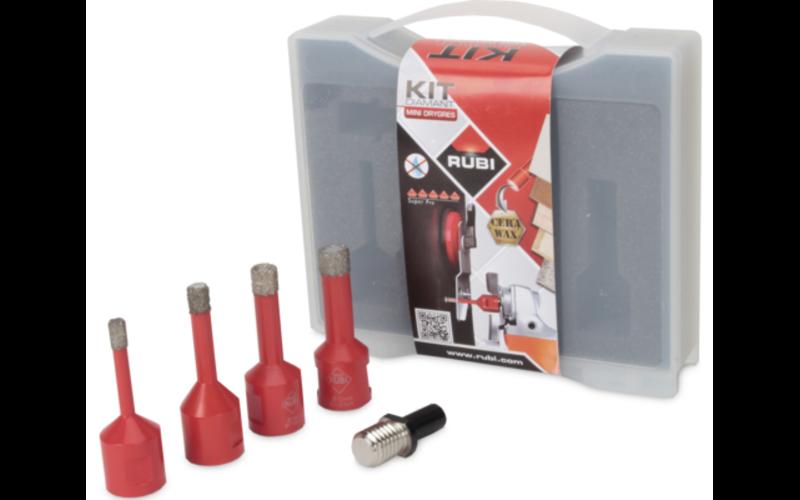 Ø 6, 8, 10, 12 мм<br> Mini Dry Gres RUBI<br> набор с адаптером для дрели
